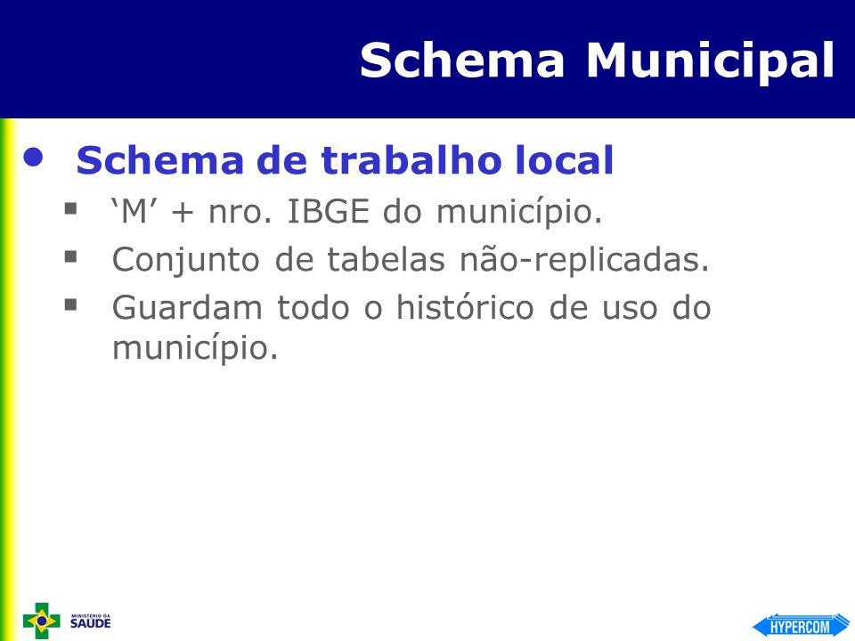 Schema Municipal Schema de trabalho local M + nro. IBGE do município. Conjunto de tabelas não-replicadas. Guardam todo o histórico de uso do município
