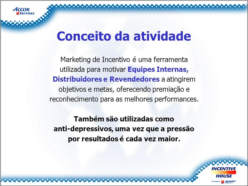 Conceito da atividade Marketing de Incentivo é uma ferramenta utilizada para motivar Equipes Internas, Distribuidores e Revendedores a atingirem objet