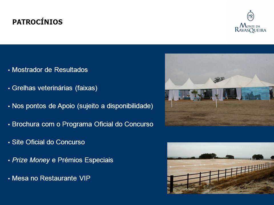 PATROCÍNIOS Mostrador de Resultados Grelhas veterinárias (faixas) Nos pontos de Apoio (sujeito a disponibilidade) Brochura com o Programa Oficial do C