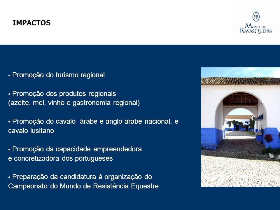 IMPACTOS Promoção do turismo regional Promoção dos produtos regionais (azeite, mel, vinho e gastronomia regional) Promoção do cavalo árabe e anglo-ara