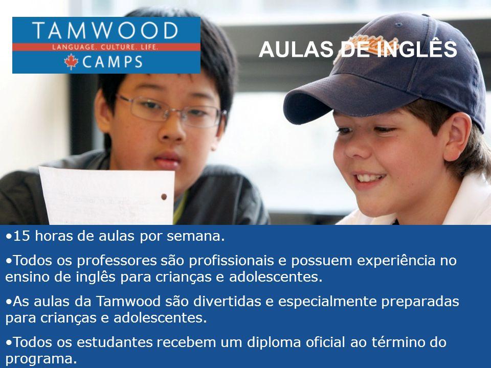 AULAS DE INGLÊS 15 horas de aulas por semana. Todos os professores são profissionais e possuem experiência no ensino de inglês para crianças e adolesc