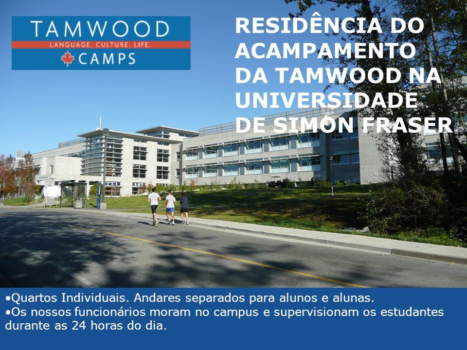 RESIDÊNCIA DO ACAMPAMENTO DA TAMWOOD NA UNIVERSIDADE DE SIMON FRASER Quartos Individuais. Andares separados para alunos e alunas. Os nossos funcionári