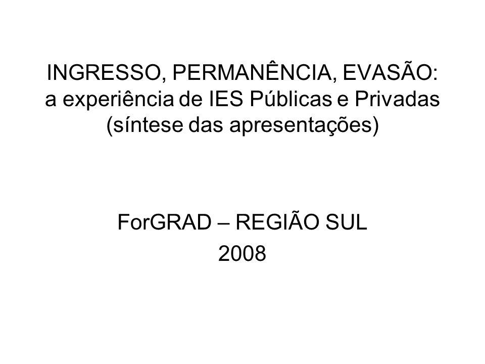INGRESSO, PERMANÊNCIA, EVASÃO: a experiência de IES Públicas e Privadas (síntese das apresentações) ForGRAD – REGIÃO SUL 2008