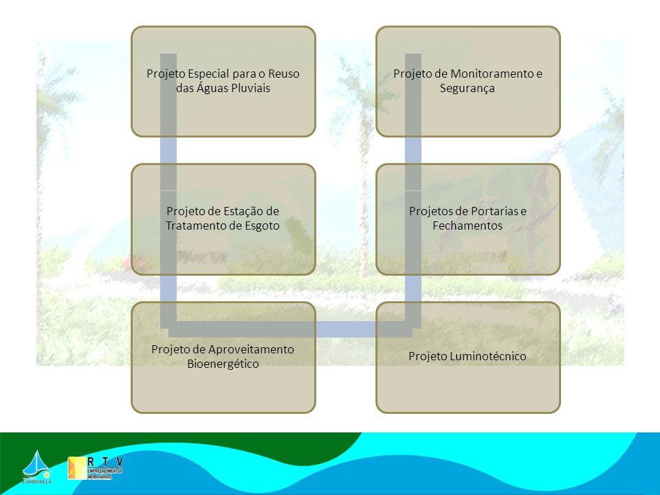 Projeto Especial para o Reuso das Águas Pluviais Projeto de Estação de Tratamento de Esgoto Projeto de Aproveitamento Bioenergético Projeto Luminotécnico Projetos de Portarias e Fechamentos Projeto de Monitoramento e Segurança