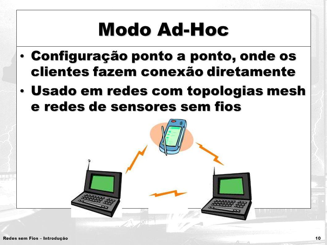 Redes sem Fios – Introdução 10 Modo Ad-Hoc Configuração ponto a ponto, onde os clientes fazem conexão diretamente Configuração ponto a ponto, onde os