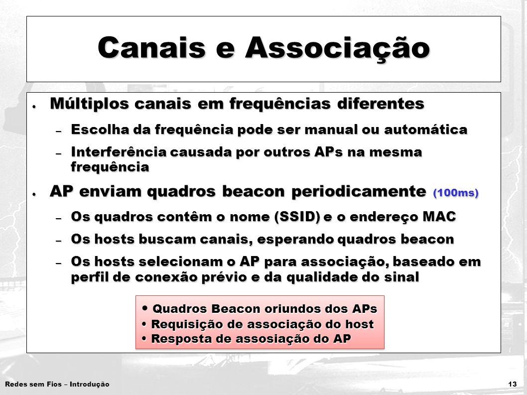 Redes sem Fios – Introdução 13 Canais e Associação Múltiplos canais em frequências diferentes Múltiplos canais em frequências diferentes – Escolha da