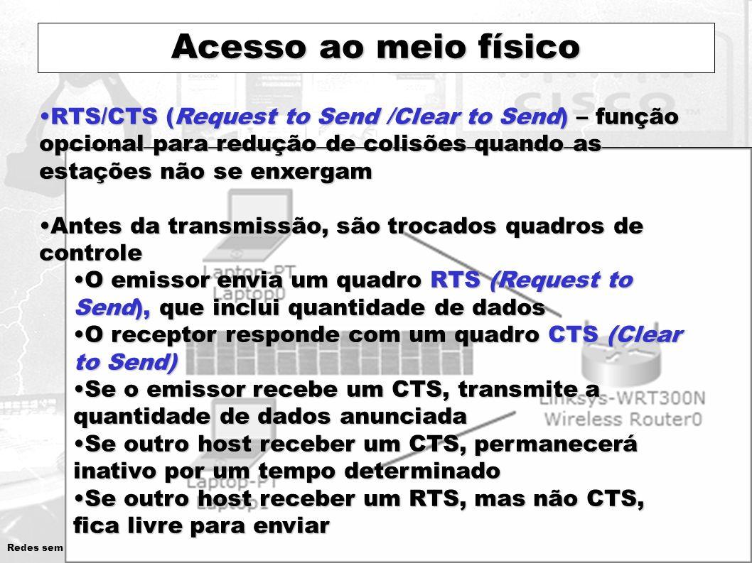 Redes sem Fios – Introdução 18 Acesso ao meio físico RTS/CTS (Request to Send /Clear to Send) – função opcional para redução de colisões quando as est