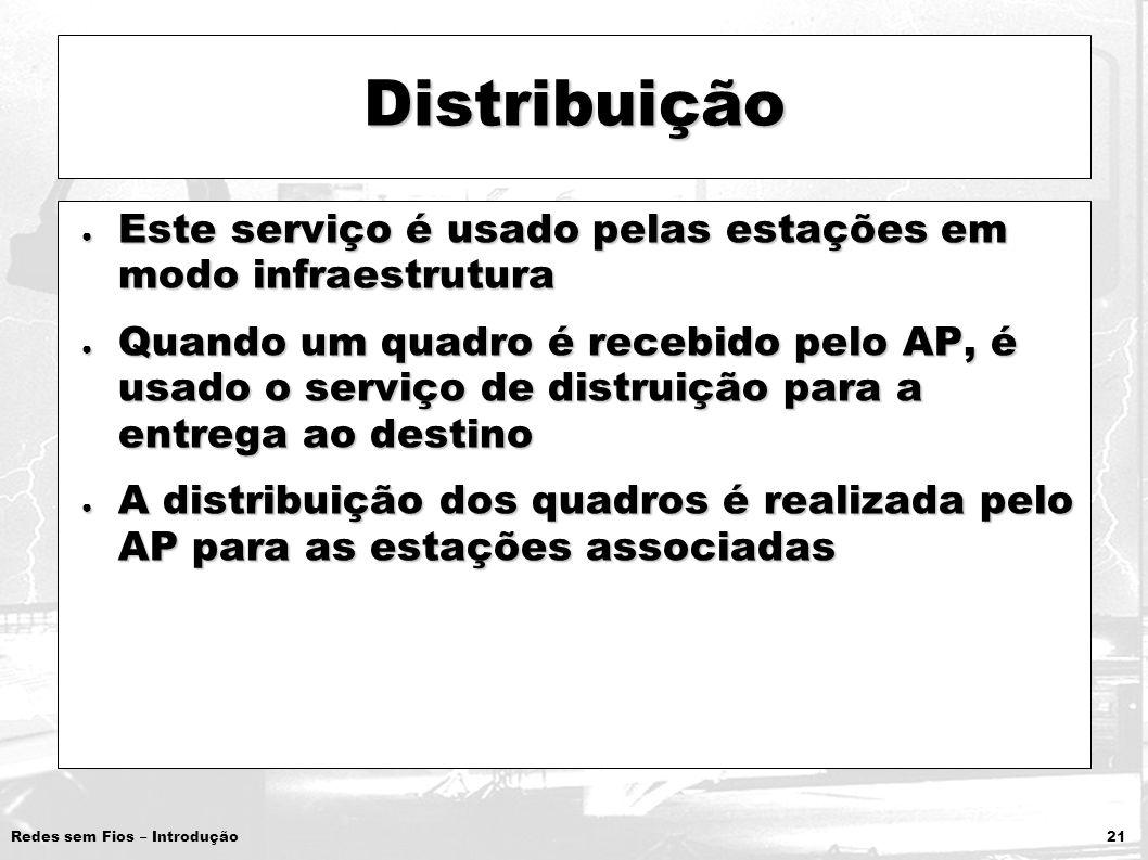 Redes sem Fios – Introdução 21 Distribuição Este serviço é usado pelas estações em modo infraestrutura Este serviço é usado pelas estações em modo inf