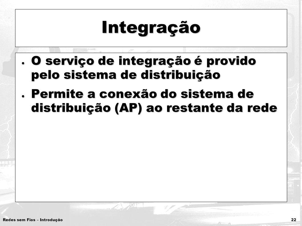 Redes sem Fios – Introdução 22 Integração O serviço de integração é provido pelo sistema de distribuição O serviço de integração é provido pelo sistem