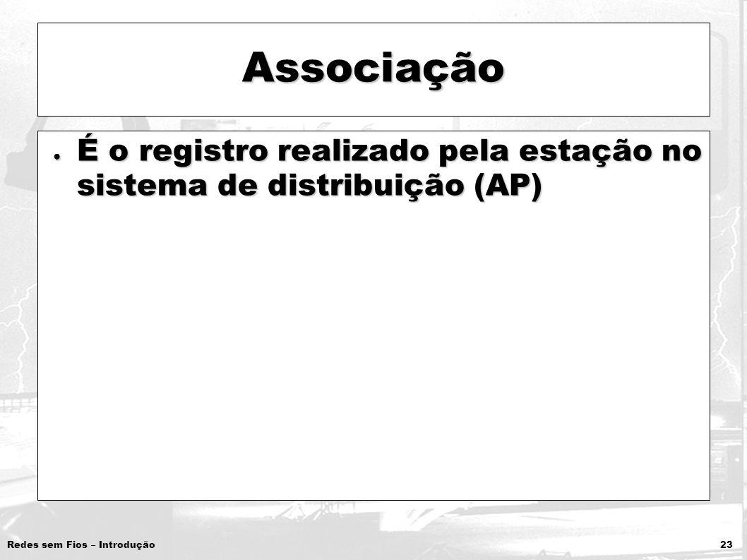Redes sem Fios – Introdução 23 Associação É o registro realizado pela estação no sistema de distribuição (AP) É o registro realizado pela estação no s
