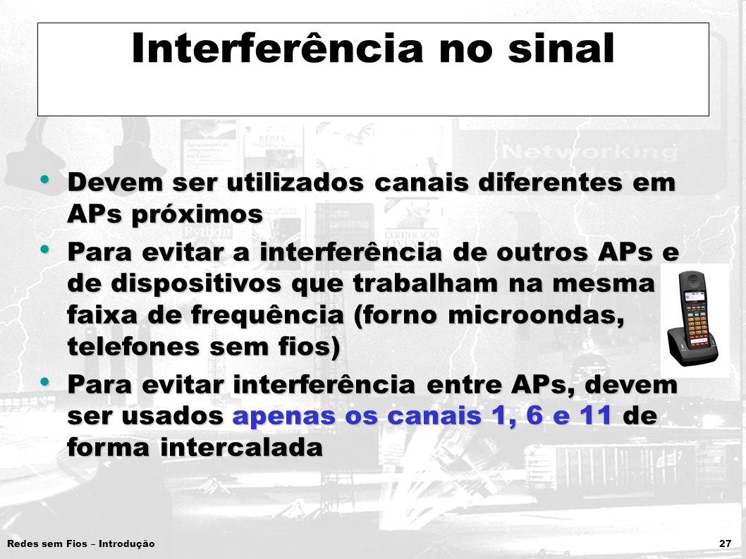 Redes sem Fios – Introdução 27 Interferência no sinal Devem ser utilizados canais diferentes em APs próximos Devem ser utilizados canais diferentes em