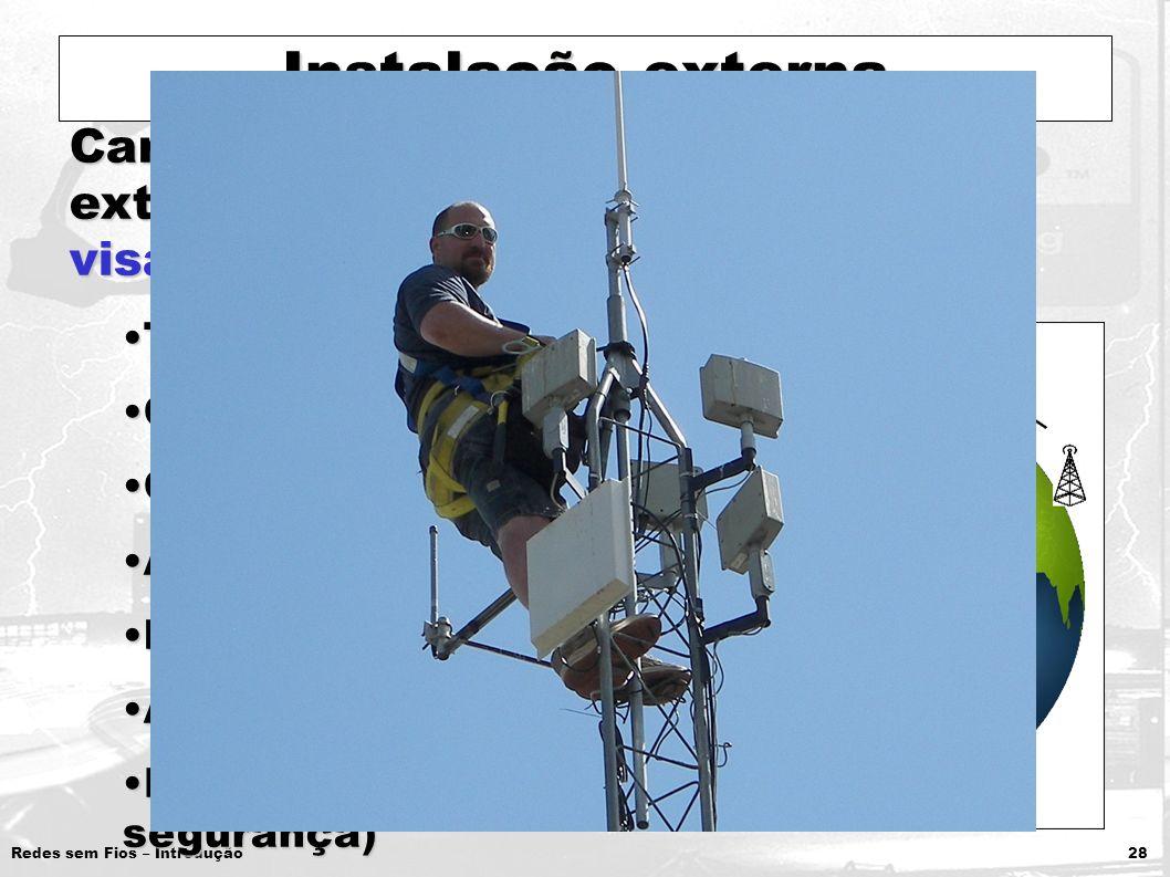 Redes sem Fios – Introdução 28 Instalação externa Características em instalações externas que prejudicam o sinal e a visada das antenas: Topografia do