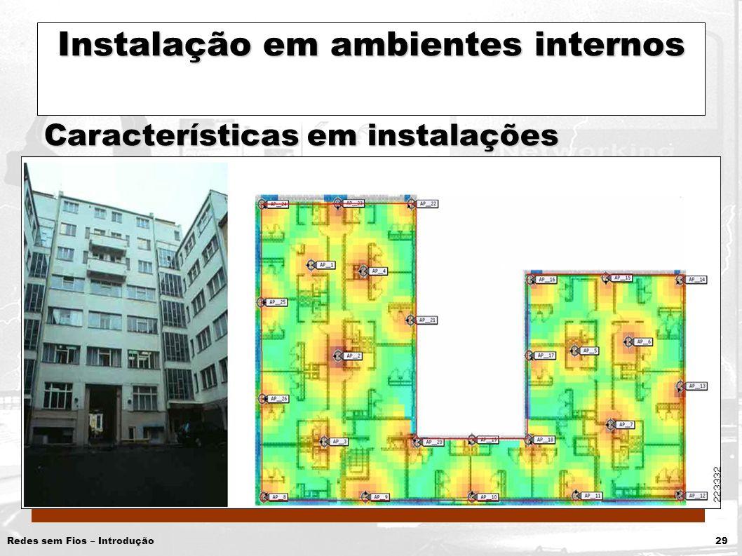 Redes sem Fios – Introdução 29 Instalação em ambientes internos Características em instalações internas: Interferência de outros APsInterferência de o