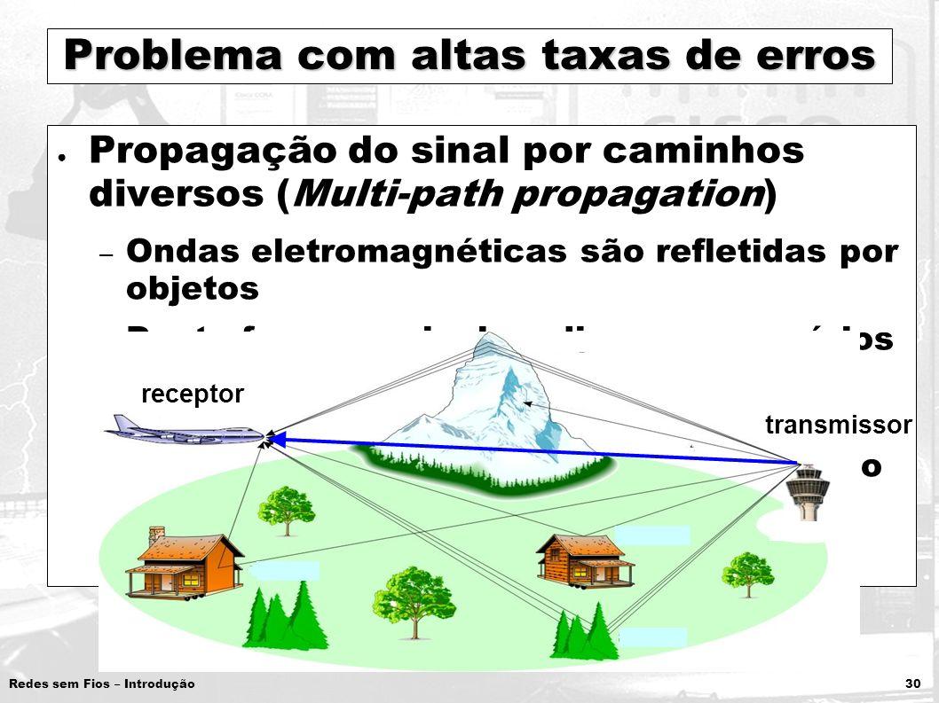 Redes sem Fios – Introdução 30 Problema com altas taxas de erros Propagação do sinal por caminhos diversos (Multi-path propagation) – Ondas eletromagn