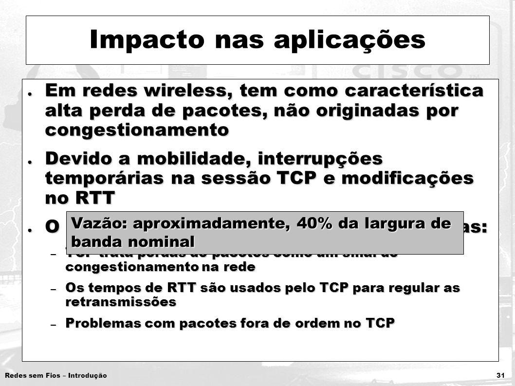 Redes sem Fios – Introdução 31 Impacto nas aplicações Em redes wireless, tem como característica alta perda de pacotes, não originadas por congestiona