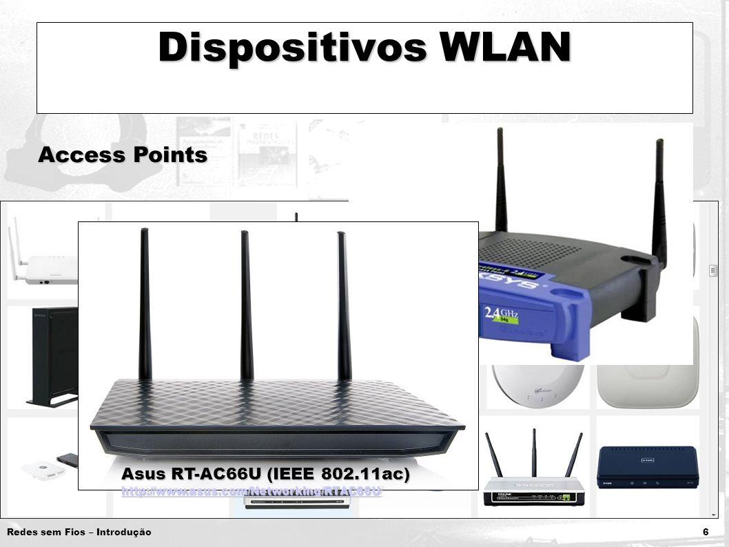Redes sem Fios – Introdução 6 Dispositivos WLAN Access Points Asus RT-AC66U (IEEE 802.11ac) http://www.asus.com/Networking/RTAC66U /