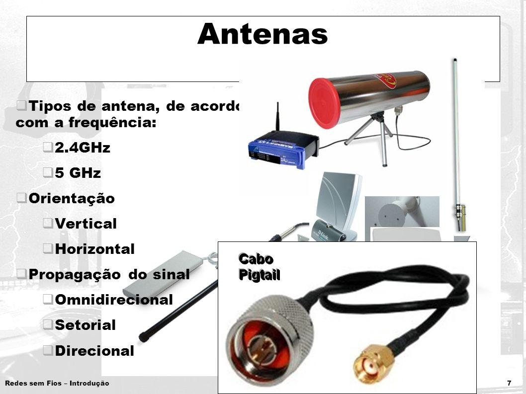 Redes sem Fios – Introdução 7 Antenas Tipos de antena, de acordo com a frequência: 2.4GHz 5 GHz Orientação Vertical Horizontal Propagação do sinal Omn