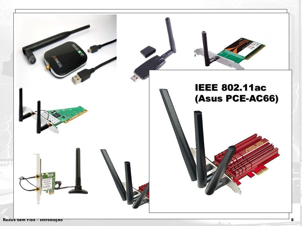 Redes sem Fios – Introdução 8 Interfaces de Rede Padrões disponíveis nas interfaces: Padrões disponíveis nas interfaces: IEEE 802.11b/g/n IEEE 802.11b