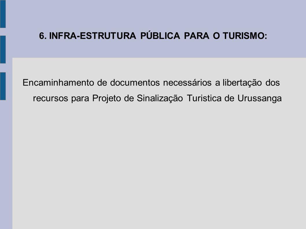 6. INFRA-ESTRUTURA PÚBLICA PARA O TURISMO: Encaminhamento de documentos necessários a libertação dos recursos para Projeto de Sinalização Turistica de