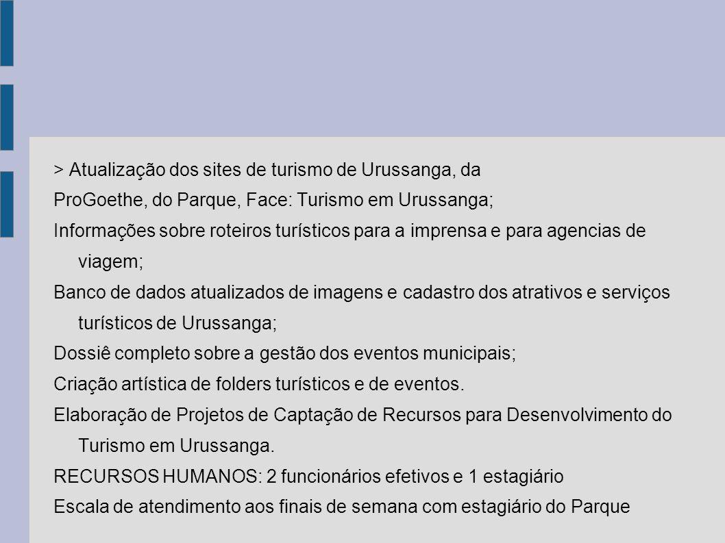 > Atualização dos sites de turismo de Urussanga, da ProGoethe, do Parque, Face: Turismo em Urussanga; Informações sobre roteiros turísticos para a imp