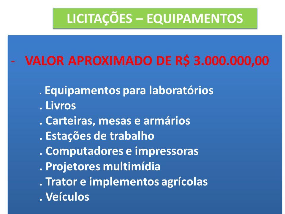 LICITAÇÕES – EQUIPAMENTOS -VALOR APROXIMADO DE R$ 3.000.000,00. Equipamentos para laboratórios. Livros. Carteiras, mesas e armários. Estações de traba