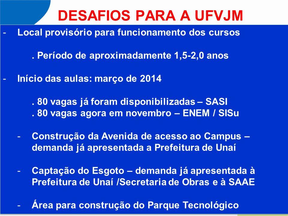 DESAFIOS PARA A UFVJM -Local provisório para funcionamento dos cursos. Período de aproximadamente 1,5-2,0 anos -Início das aulas: março de 2014. 80 va
