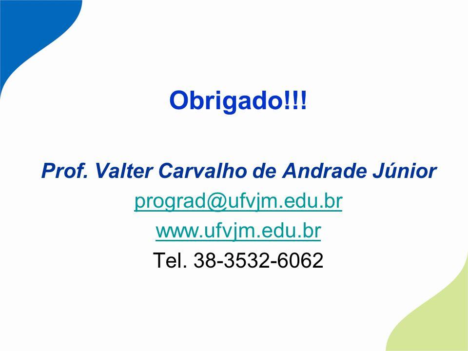 Obrigado!!! Prof. Valter Carvalho de Andrade Júnior prograd@ufvjm.edu.br www.ufvjm.edu.br Tel. 38-3532-6062