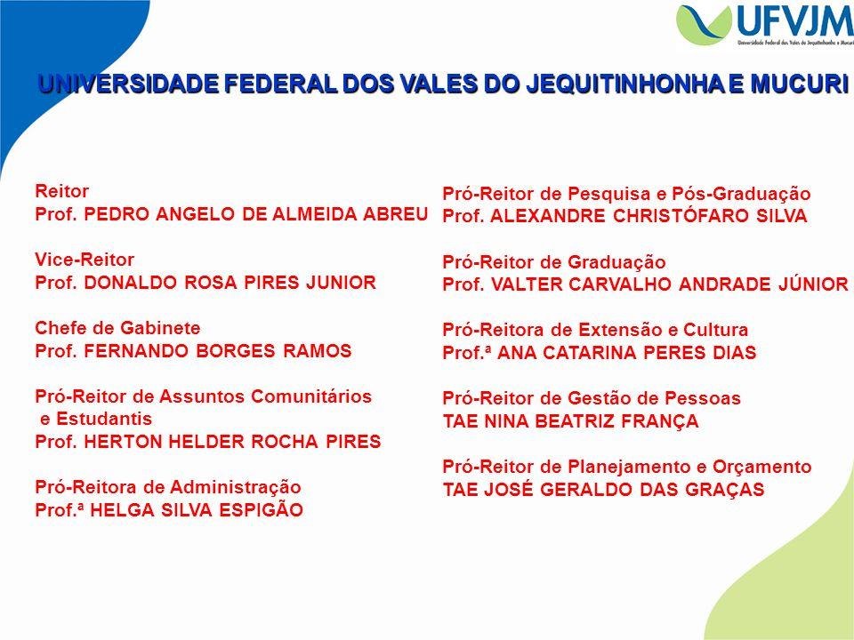 UNIVERSIDADE FEDERAL DOS VALES DO JEQUITINHONHA E MUCURI Reitor Prof. PEDRO ANGELO DE ALMEIDA ABREU Vice-Reitor Prof. DONALDO ROSA PIRES JUNIOR Chefe