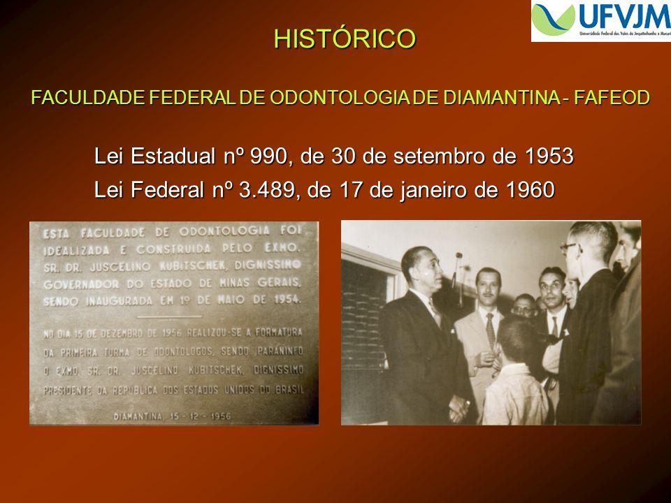 HISTÓRICO FACULDADE FEDERAL DE ODONTOLOGIA DE DIAMANTINA - FAFEOD Lei Estadual nº 990, de 30 de setembro de 1953 Lei Federal nº 3.489, de 17 de janeir