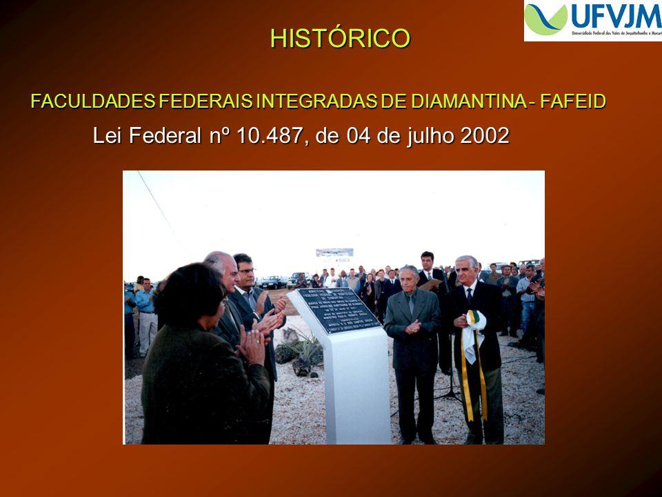 HISTÓRICO FACULDADES FEDERAIS INTEGRADAS DE DIAMANTINA - FAFEID Lei Federal nº 10.487, de 04 de julho 2002