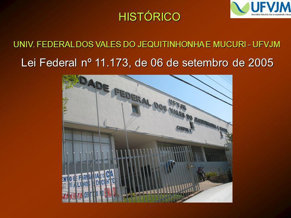 HISTÓRICO UNIV. FEDERAL DOS VALES DO JEQUITINHONHA E MUCURI - UFVJM Lei Federal nº 11.173, de 06 de setembro de 2005
