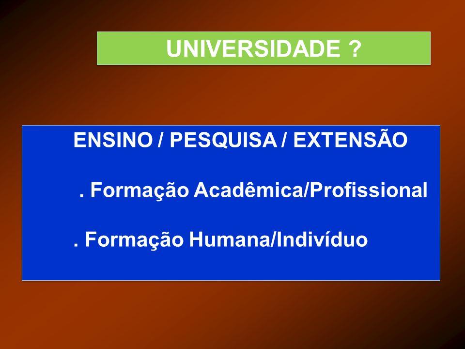 UNIVERSIDADE ? ENSINO / PESQUISA / EXTENSÃO. Formação Acadêmica/Profissional. Formação Humana/Indivíduo ENSINO / PESQUISA / EXTENSÃO. Formação Acadêmi