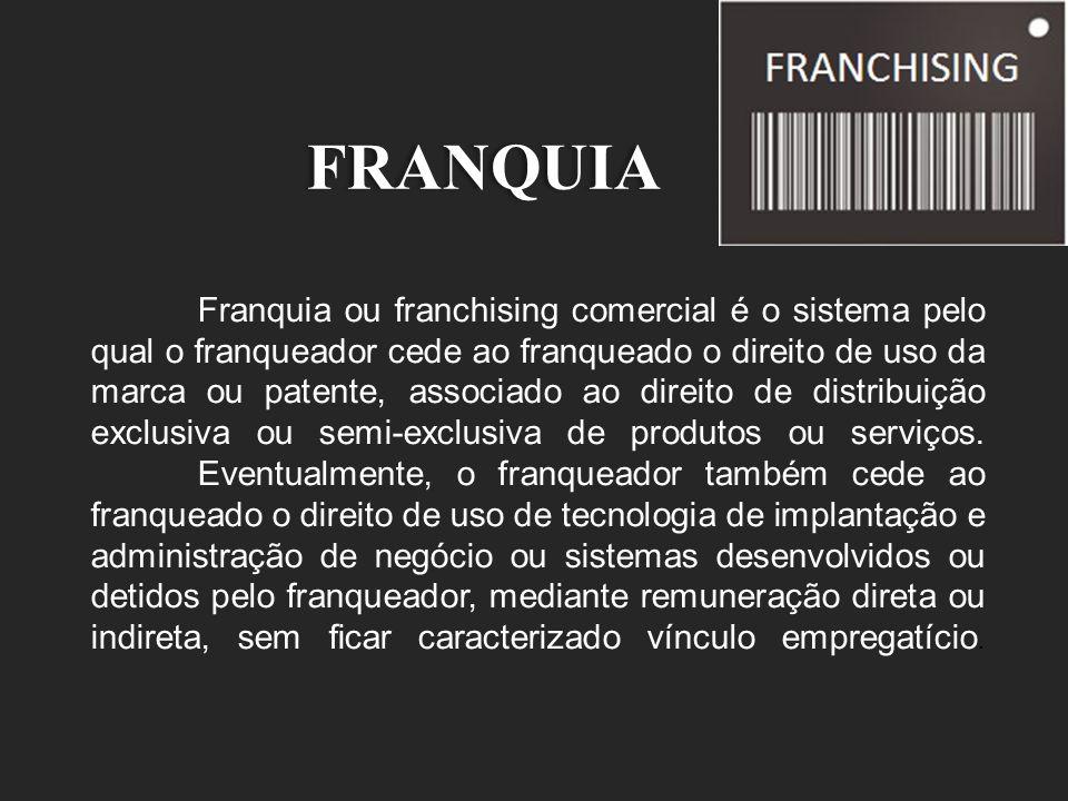FRANQUIA Franquia ou franchising comercial é o sistema pelo qual o franqueador cede ao franqueado o direito de uso da marca ou patente, associado ao d