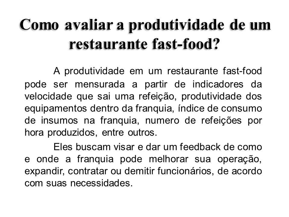 Como avaliar a produtividade de um restaurante fast-food? A produtividade em um restaurante fast-food pode ser mensurada a partir de indicadores da ve