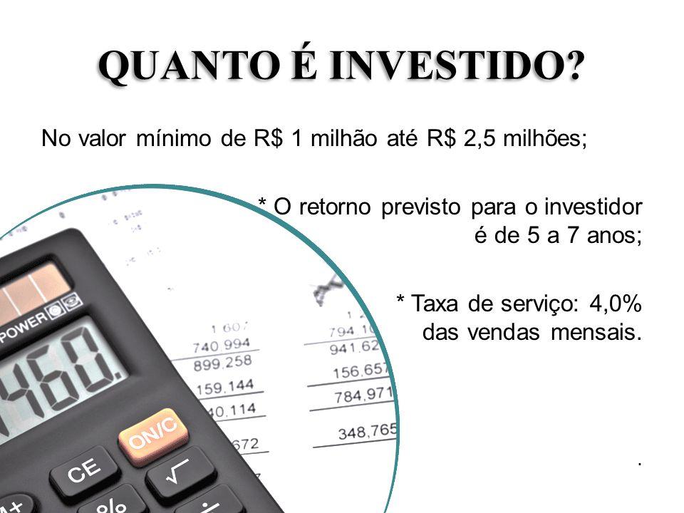 QUANTO É INVESTIDO? No valor mínimo de R$ 1 milhão até R$ 2,5 milhões; * O retorno previsto para o investidor é de 5 a 7 anos; * Taxa de serviço: 4,0%