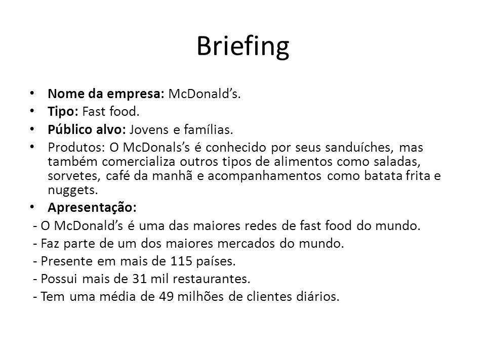 Briefing Mercado: O mercado de fast-food sempre teve um grande destaque, devido aos novos padrões sociais e a globalização.
