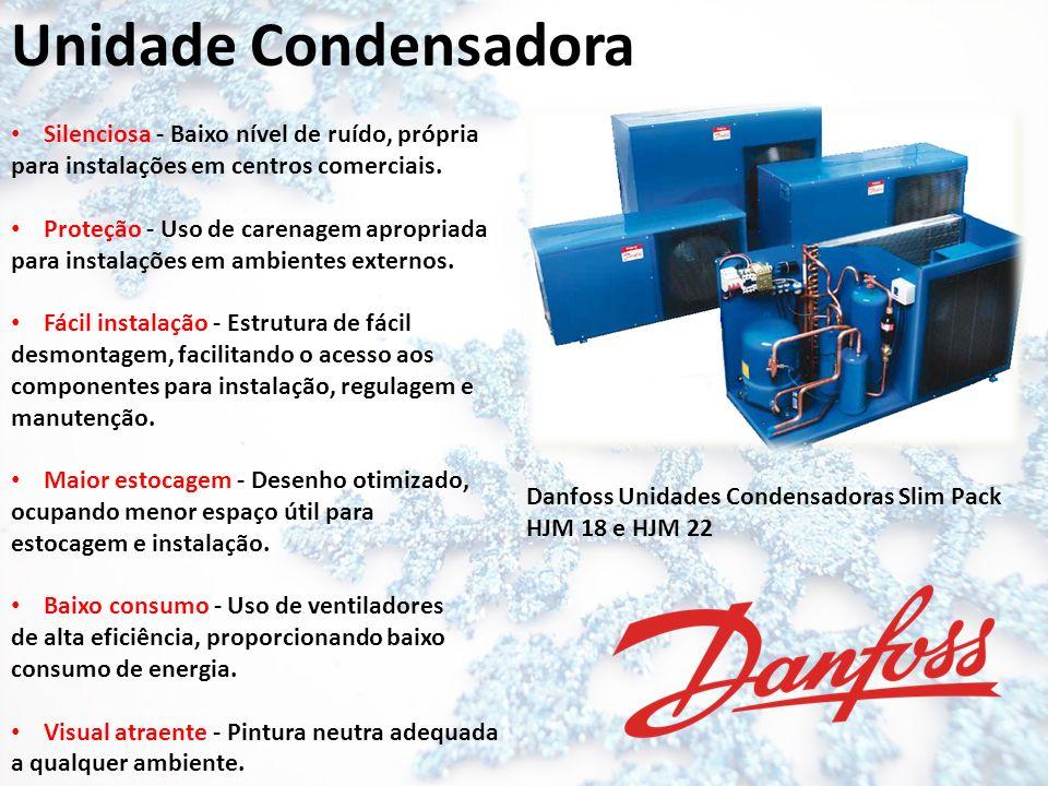 Unidade Condensadora Silenciosa - Baixo nível de ruído, própria para instalações em centros comerciais. Proteção - Uso de carenagem apropriada para in