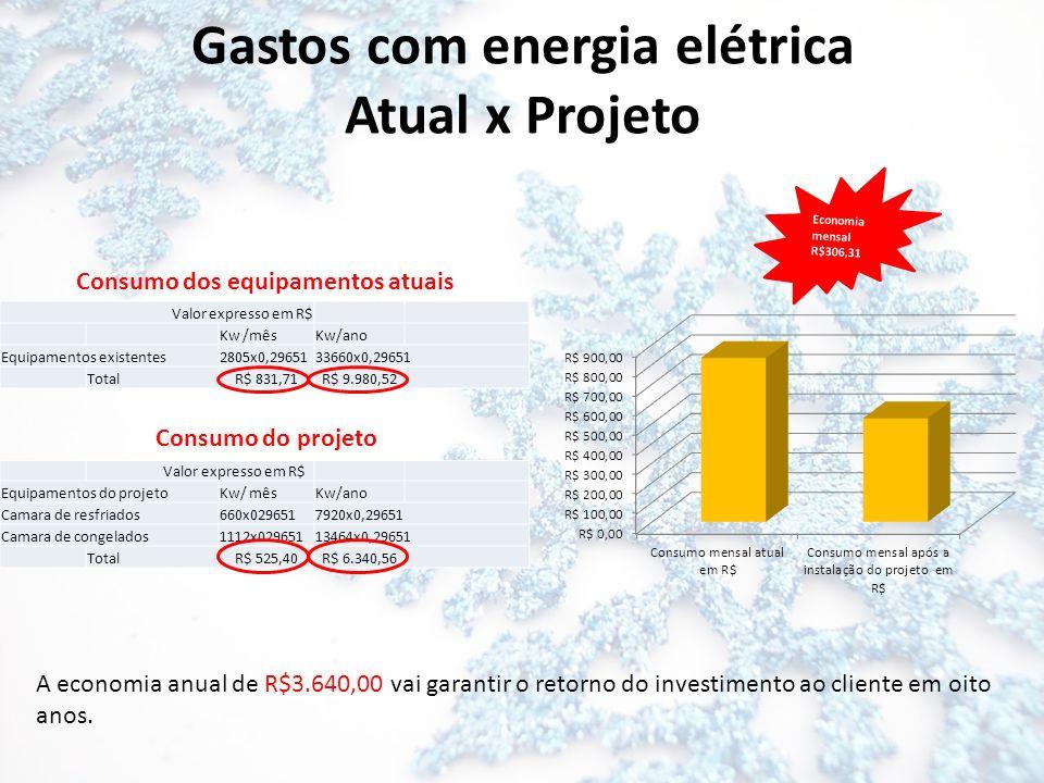 Economia mensal R$306,31 Gastos com energia elétrica Atual x Projeto Valor expresso em R$ Kw /mêsKw/ano Equipamentos existentes2805x0,2965133660x0,296