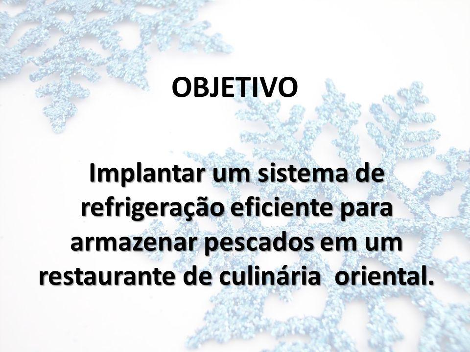 OBJETIVO Implantar um sistema de refrigeração eficiente para armazenar pescados em um restaurante de culinária oriental.
