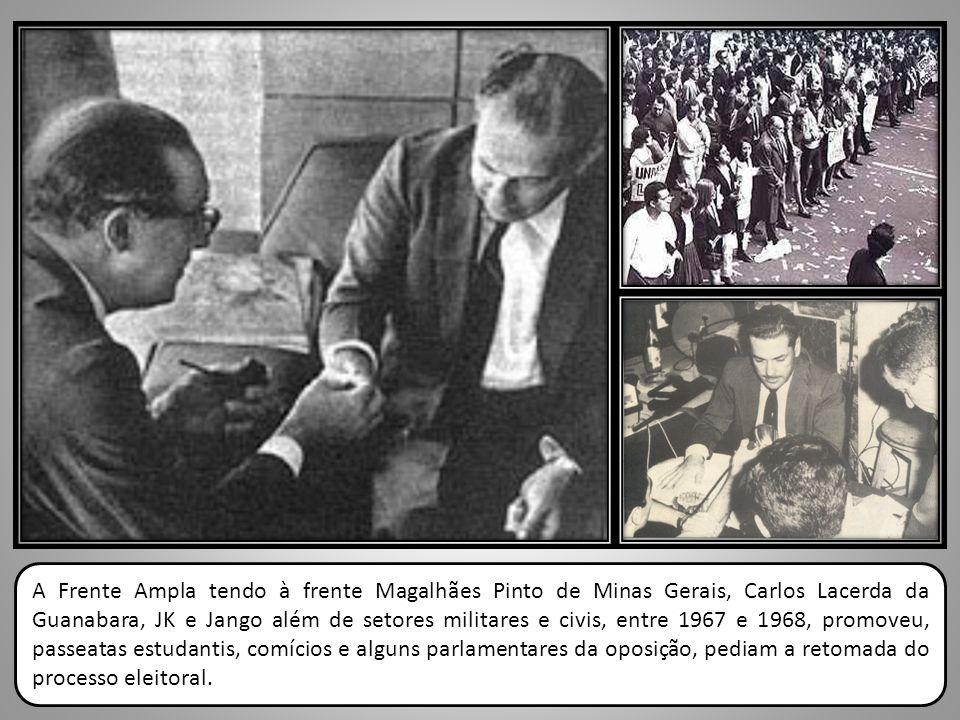 A Frente Ampla tendo à frente Magalhães Pinto de Minas Gerais, Carlos Lacerda da Guanabara, JK e Jango além de setores militares e civis, entre 1967 e
