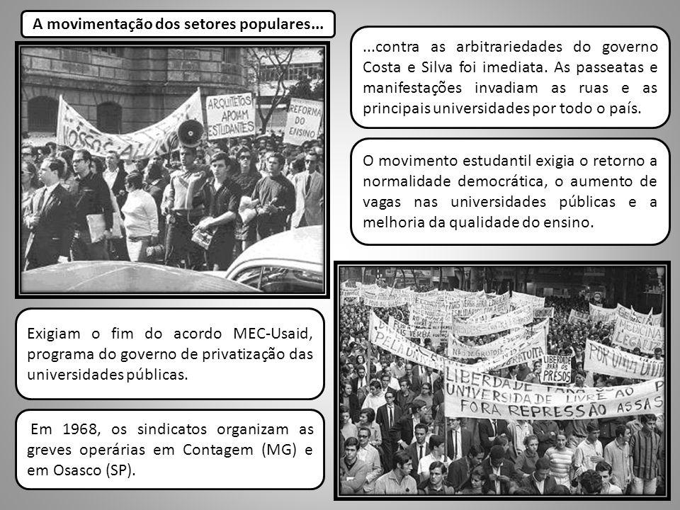 ...contra as arbitrariedades do governo Costa e Silva foi imediata. As passeatas e manifestações invadiam as ruas e as principais universidades por to