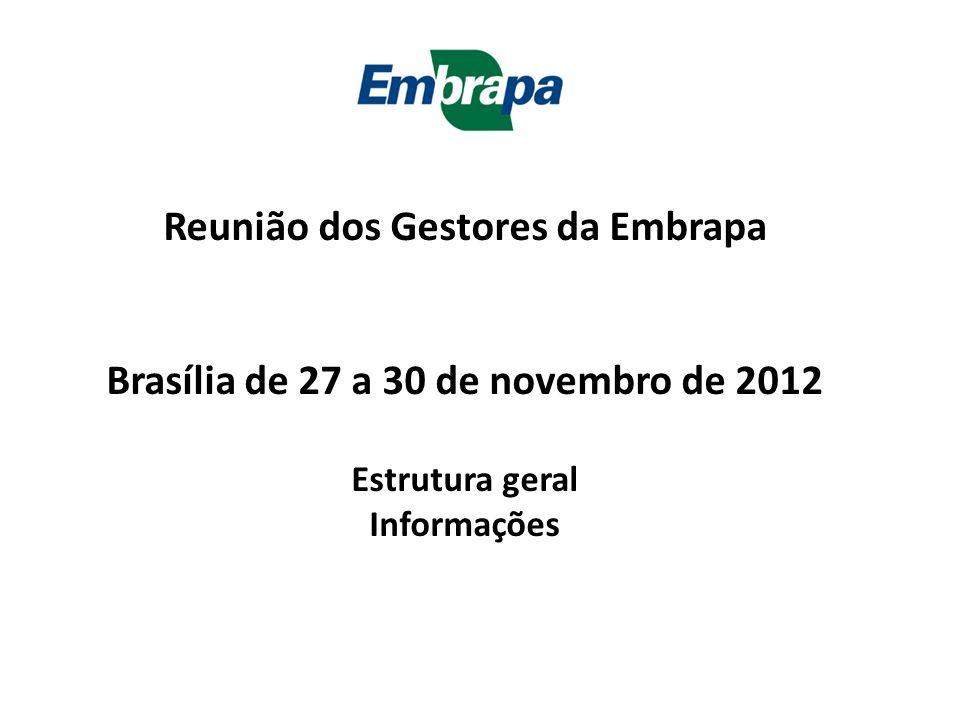 Reunião dos Gestores da Embrapa Brasília de 27 a 30 de novembro de 2012 Estrutura geral Informações