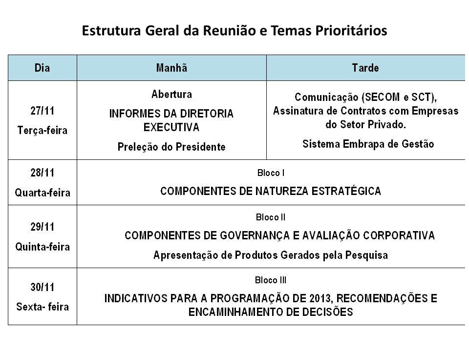 Estrutura Geral da Reunião e Temas Prioritários