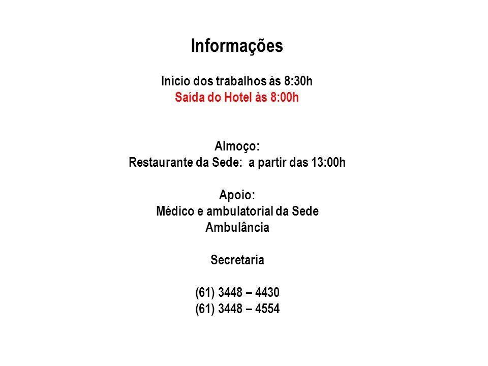 Informações Início dos trabalhos às 8:30h Saída do Hotel às 8:00h Almoço: Restaurante da Sede: a partir das 13:00h Apoio: Médico e ambulatorial da Sede Ambulância Secretaria (61) 3448 – 4430 (61) 3448 – 4554