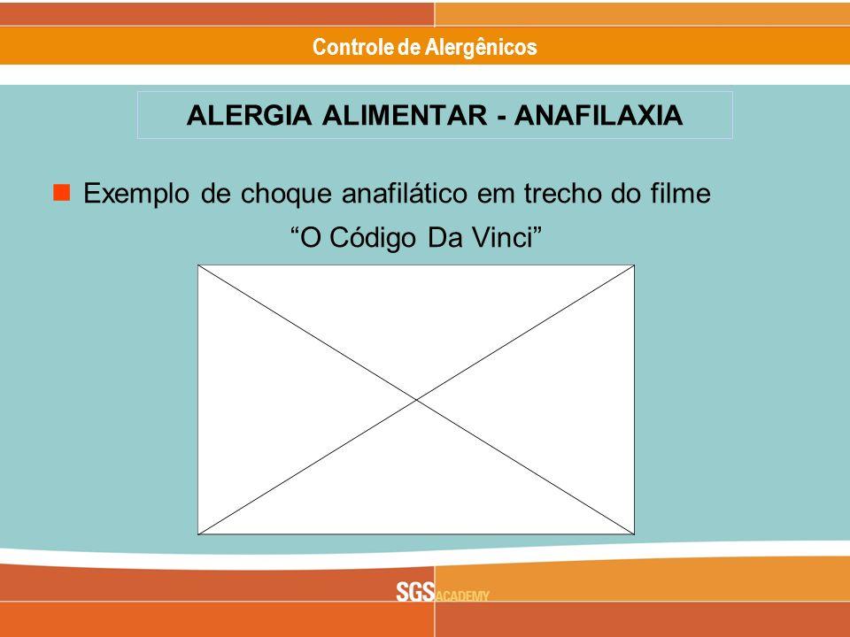 Alergênicos Slide 13 of 17 Controle de Alergênicos Exemplo de choque anafilático em trecho do filme O Código Da Vinci ALERGIA ALIMENTAR - ANAFILAXIA