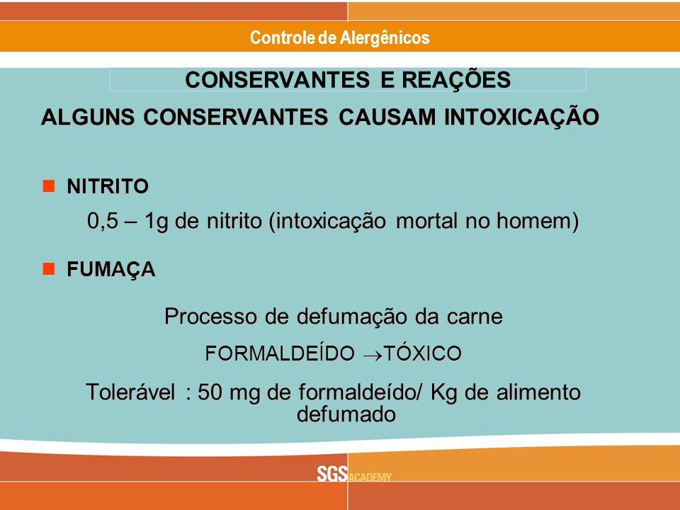Alergênicos Slide 14 of 17 Controle de Alergênicos ALGUNS CONSERVANTES CAUSAM INTOXICAÇÃO NITRITO NITRITO 0,5 – 1g de nitrito (intoxicação mortal no h