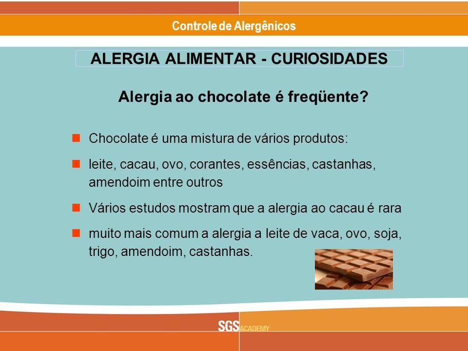 Alergênicos Slide 18 of 17 Controle de Alergênicos ALERGIA ALIMENTAR - CURIOSIDADES Alergia ao chocolate é freqüente? Chocolate é uma mistura de vário