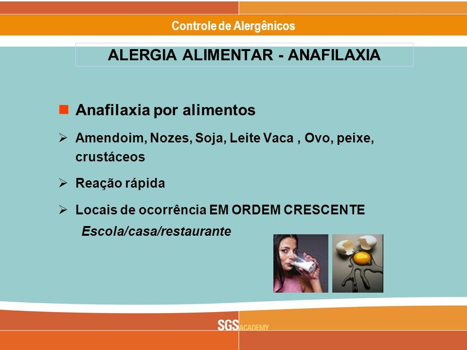 Alergênicos Slide 5 of 17 Controle de Alergênicos ALERGIA ALIMENTAR - ANAFILAXIA Anafilaxia por alimentos Amendoim, Nozes, Soja, Leite Vaca, Ovo, peix