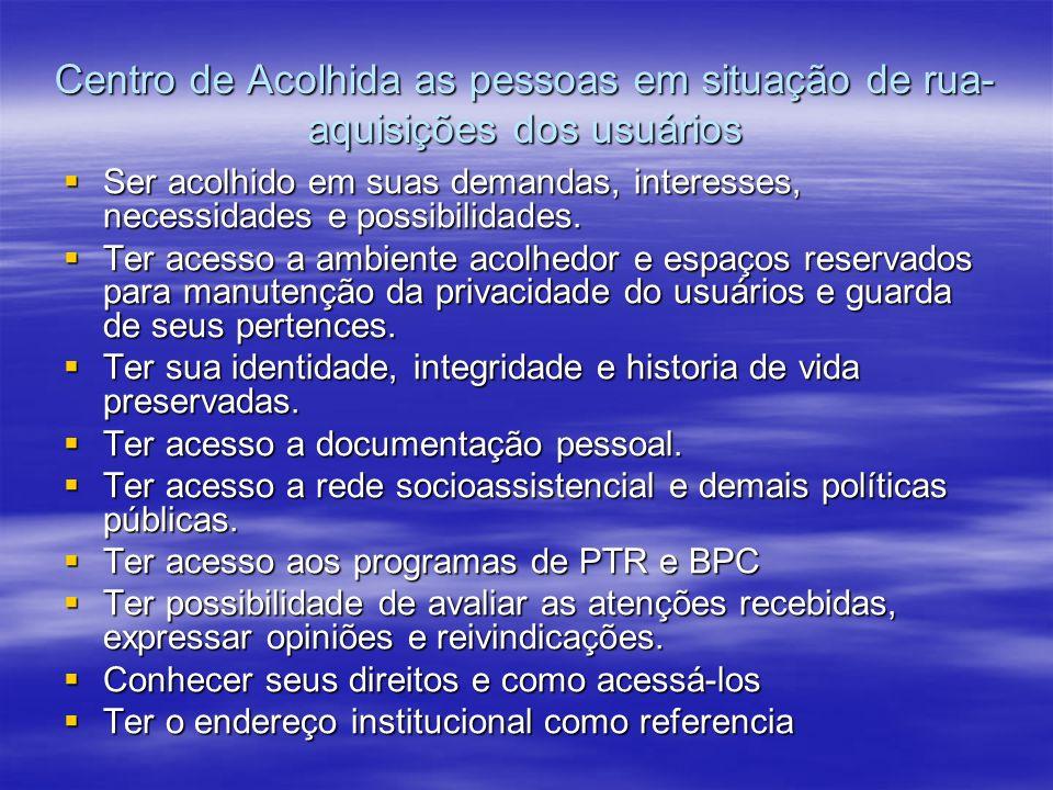 Centro de Acolhida as pessoas em situação de rua- aquisições dos usuários Ser acolhido em suas demandas, interesses, necessidades e possibilidades. Se