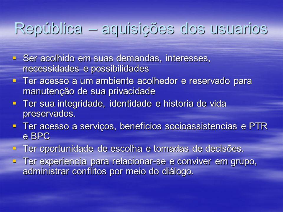 República – aquisições dos usuarios Ser acolhido em suas demandas, interesses, necessidades e possibilidades Ser acolhido em suas demandas, interesses